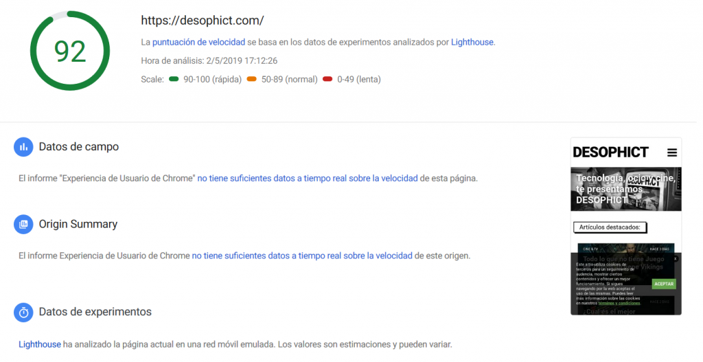 Un ejemplo de PageSpeed con DESOPHICT