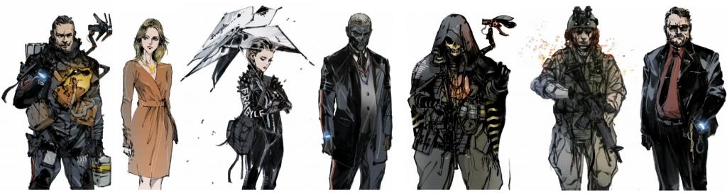 Ilustración de los personajes principales de Death Stranding