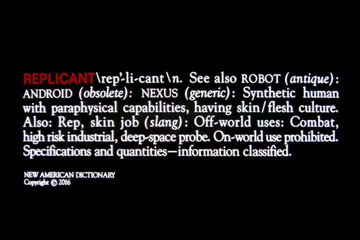 La palabra replicante en un diccionario ficticio de Blade Runner