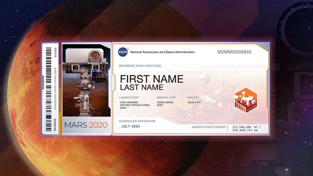 Ejemplo de tarjeta de embarque de Mars 2020