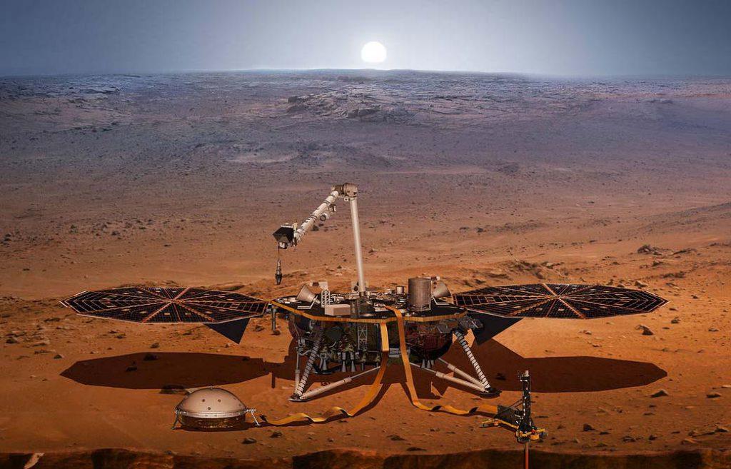 Ilustración de un rover y Marte