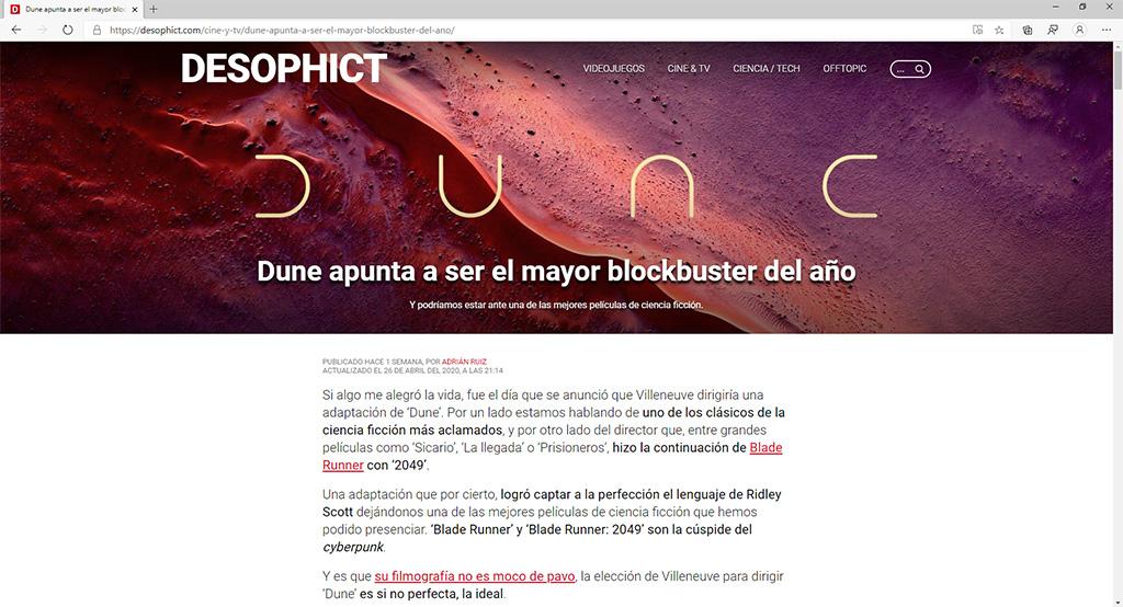 Captura de pantalla de DESOPHICT
