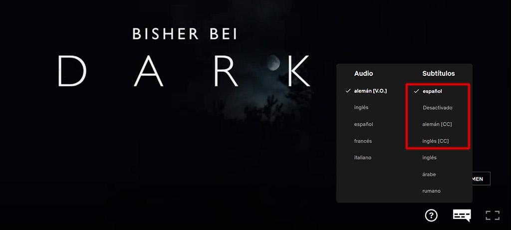 Subtitulos de la serie Dark
