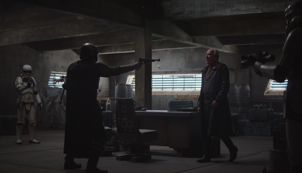 La escena del cliente (primer capítulo), toda la habitación es generada con Unreal Engine. Solo la columna, el suelo y el escritorio son reales