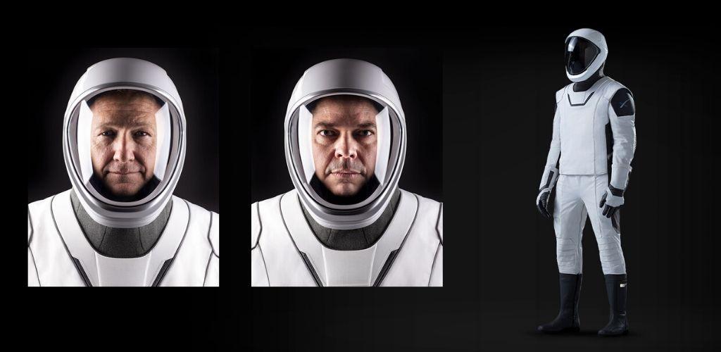 Robert L. Behnken y Douglas G. Hurley con el traje espacial de SpaceX