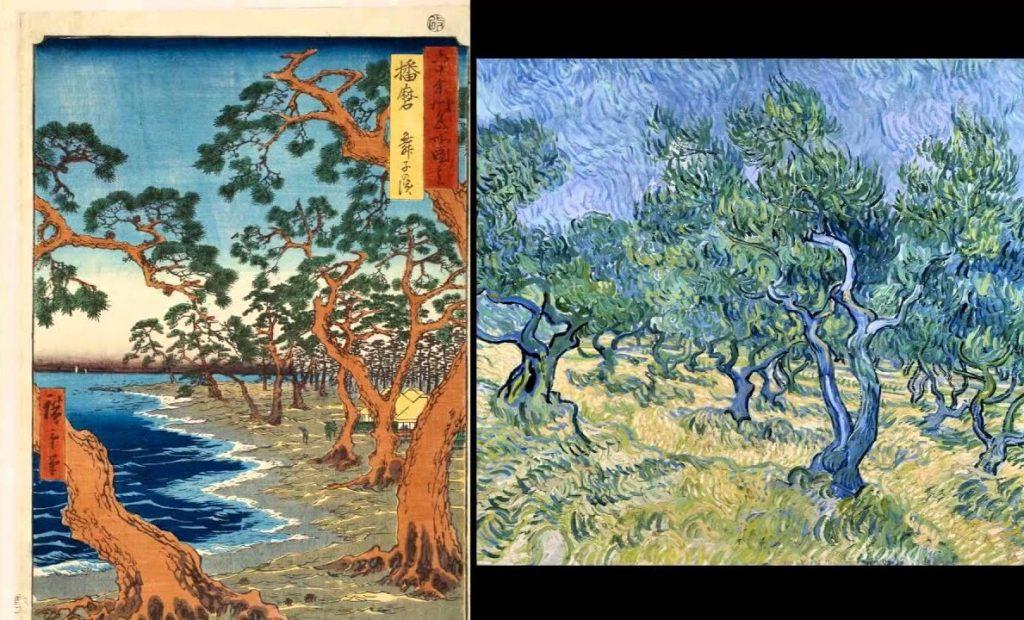 Izquierda, una estampa de ukiyo-e, derecha, un cuadro de Van Gogh