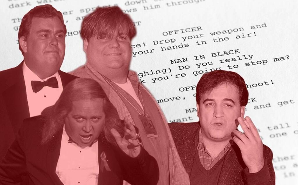 Los actores fallecidos John Belushi, Sam Kinison, John Candy y Chris Farley