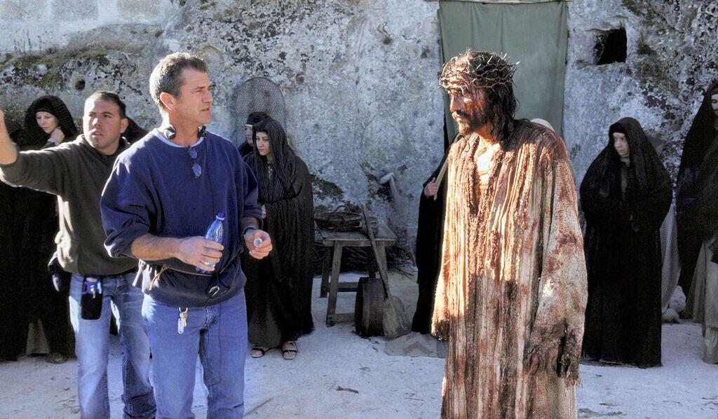 Mel Gibson y Jim Caviezel durante el rodaje de 'La pasión de Cristo'