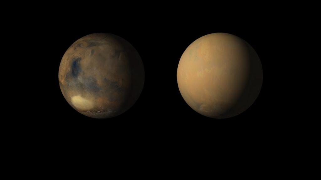 Marte, totalmente cubierto por una tormenta de arena