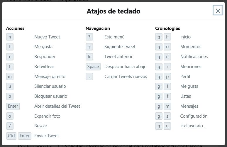 Atajos de teclado Twitter