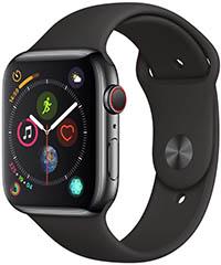 Apple Watch Series 4 (GPS + Cellular) con caja de 40 mm de acero inoxidable en negro espacial y correa deportiva negra