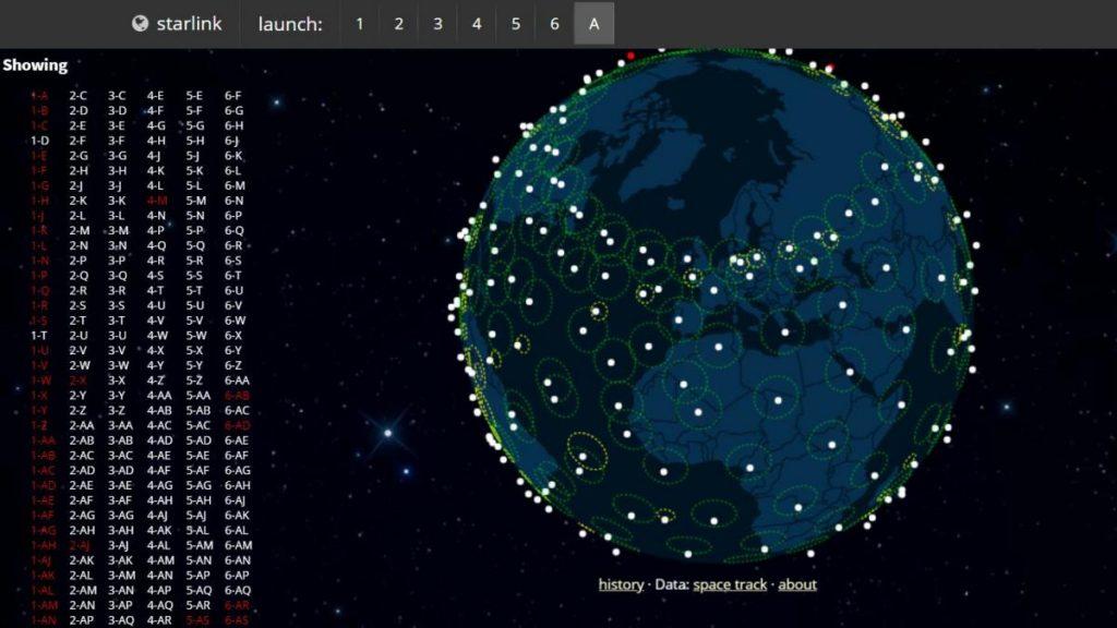 Todos los satélites que actualmente tiene Starlink en órbita