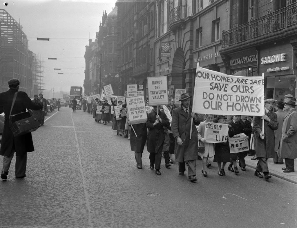Manifestaciones de la población de Capel Celyn en Liverpool