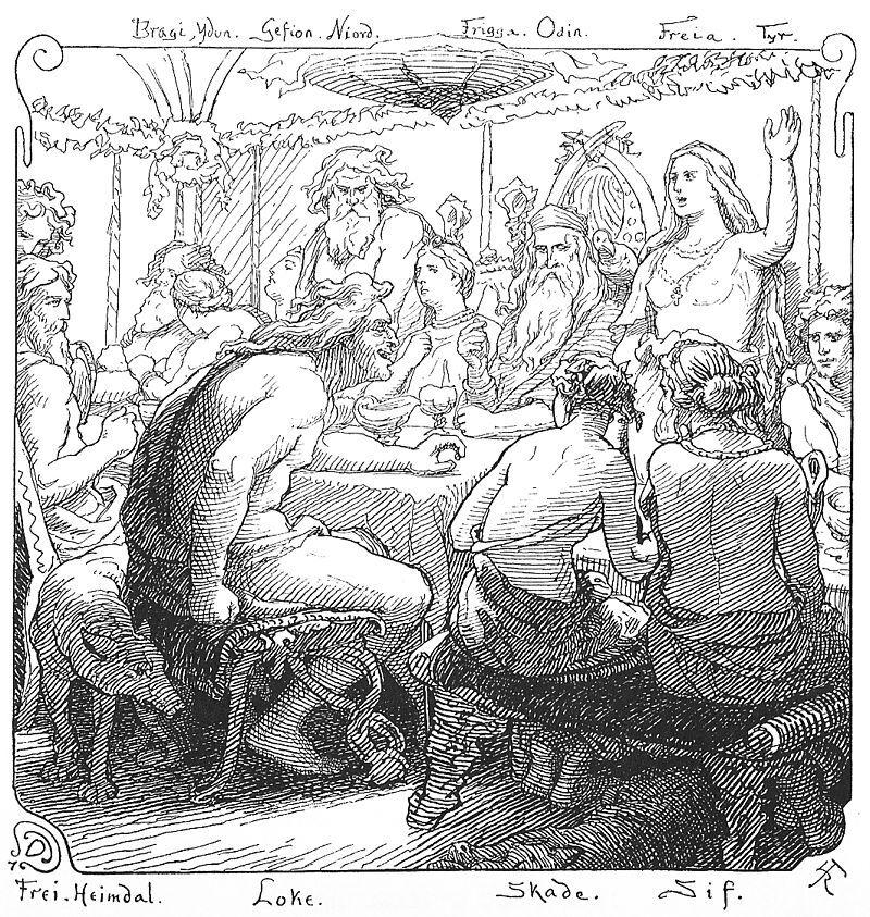 Los dioses nórdicos Freya y Loki realizando flyting en una ilustración (1895) de Lorenz Frølich