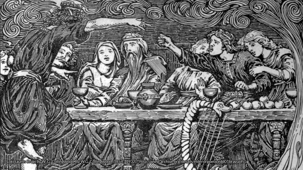Loki se burla de Bragi, por W.G. Collingwood (1851)