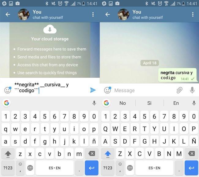 Telegram - Formato de textos
