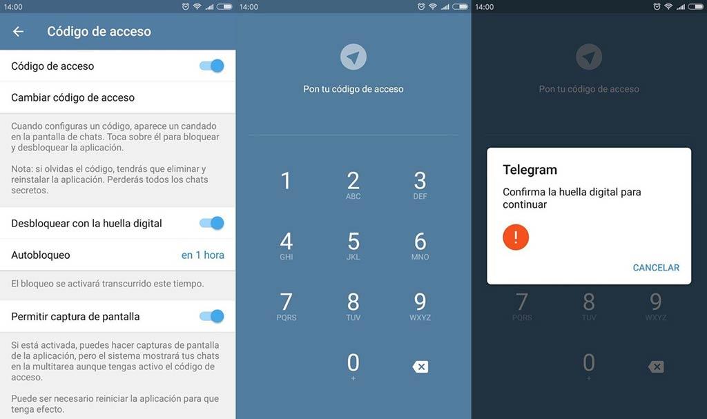 Telegram - Código de acceso
