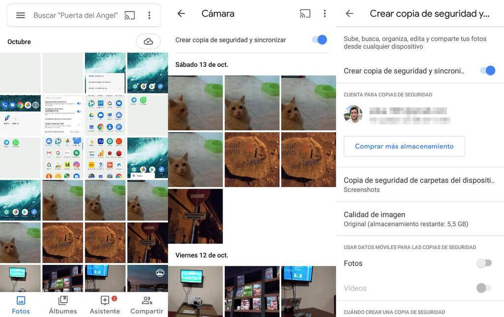 Copia de seguridad de Google Photos