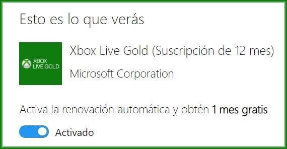 Al registrar una suscripción de Xbox Live Gold debemos activar la renovación automática para obtener 1 mes gratis antes de validarla